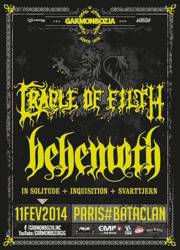Behemoth+Cradle of Filth+Inquition Bataclan, 11 Février 2014, avec La Grosse Radio