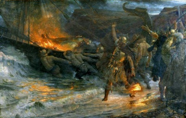 Funeral of a Viking painting