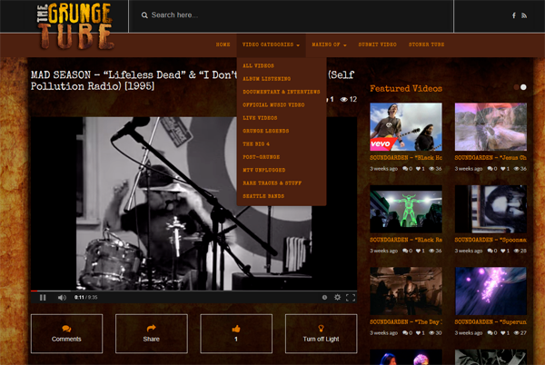 The Grunge Tube - Regarder video grunge rock