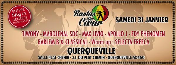 Soirée des Rastas du coeur le samedi 31 janvier 2015 à Querqueville (50)