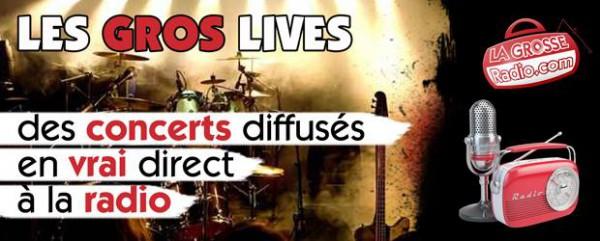 lives et concerts diffusés à la radio, rock, metal, reggae