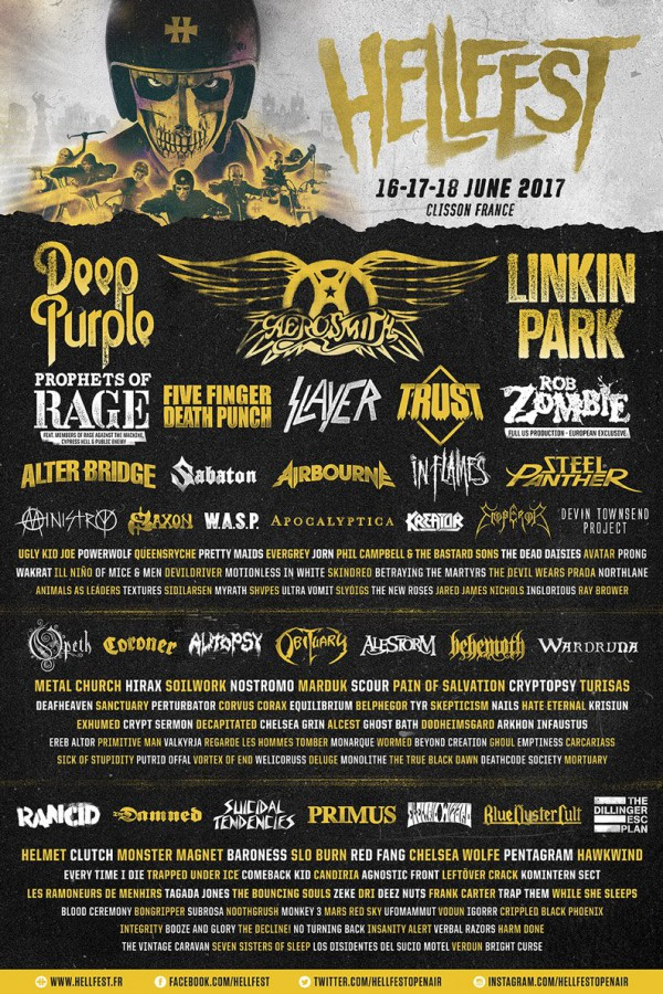 hellfest, line-up, affiche, groupes, annonce, 2017, running order
