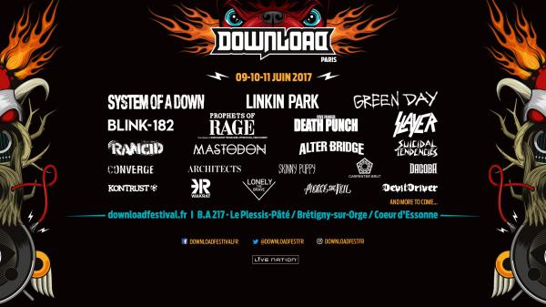 Download festival, Paris, affiche, line up, 2017, live nation, metal, fest,
