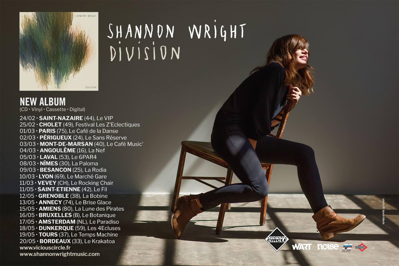 Shannon Wright, nouvel album Division, tournée française, café de la Danse