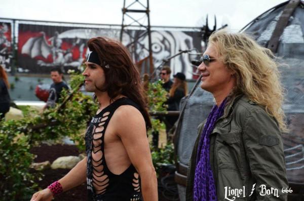 Steel Panther avant la conférence de presse du Hellfest 2012 / La Grosse Radio