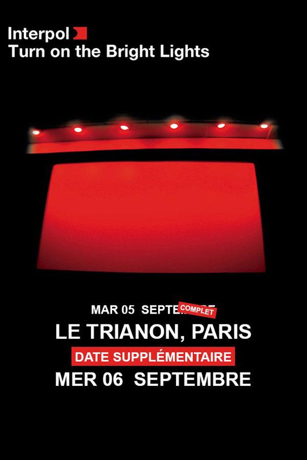Interpol, Turn on the Bright Lights, 15ème anniversaire, le trianon, concert