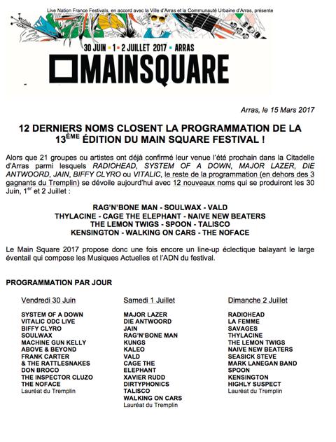 Main Square Festival, Arras, citadelle, edition 2017, programmation, nouveaux noms