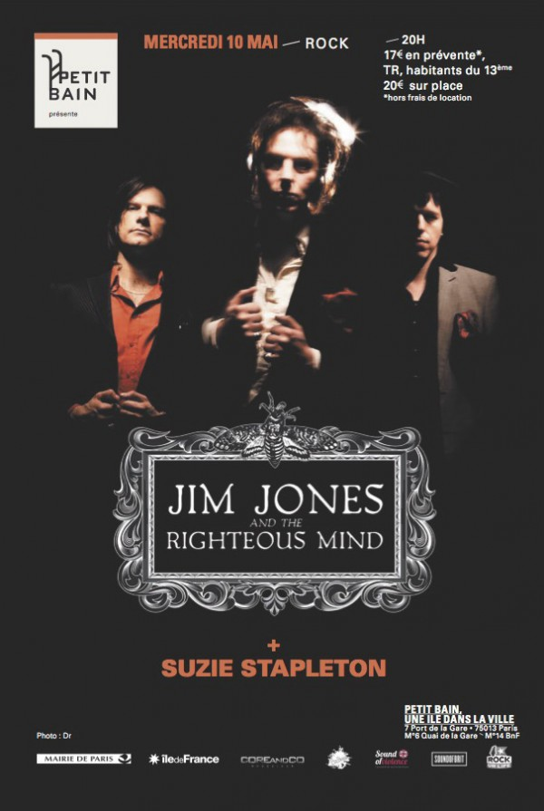 Jim Jones & The Righteous Mind - Petit Bain Paris 10 Mai 2017 Flyer