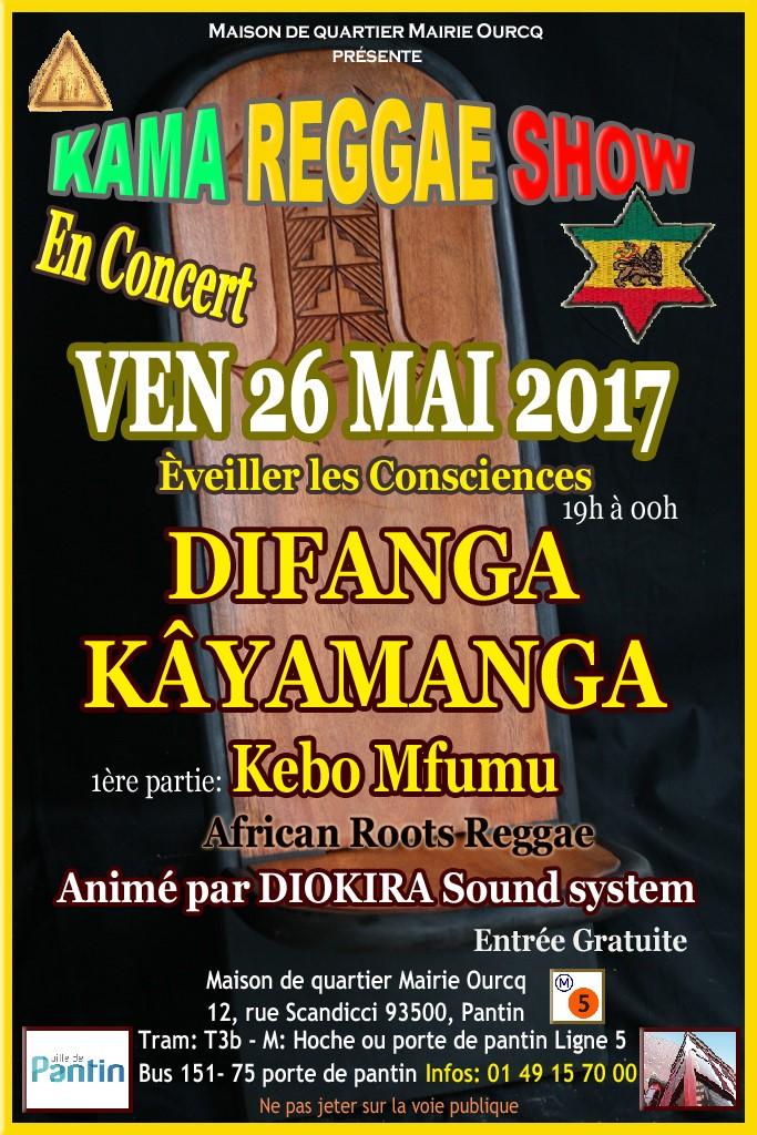 soirée Kama Reggae Show, Difanga, KayaManga, maison de quartier mairie Ourcq Pantin