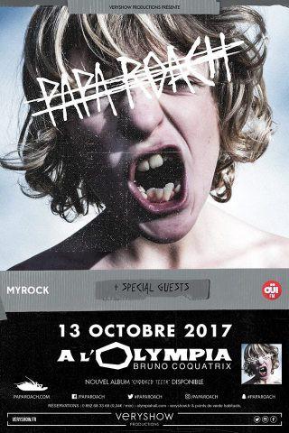papa roach, crooked teeth, help, 2017, tournée, olympia, live, concert