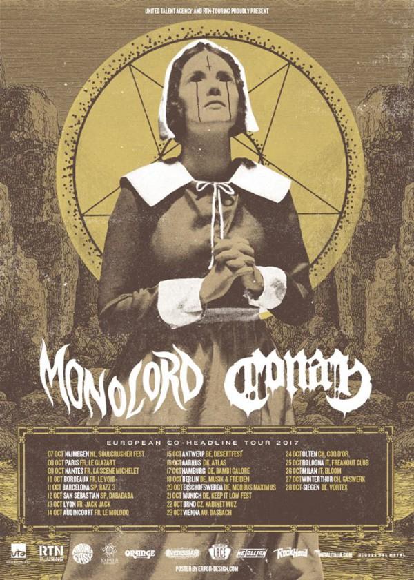 conan, monolord, tournée, co-headline, 2017, concert, live, sortie, tournée