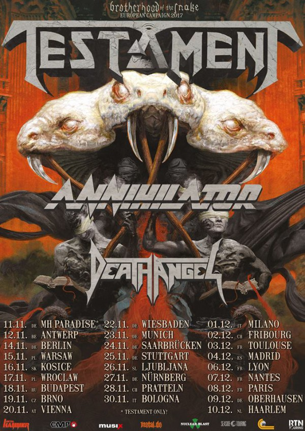 Testament, metal, thrash, tour, european, paris, france, death angel, annihilator,