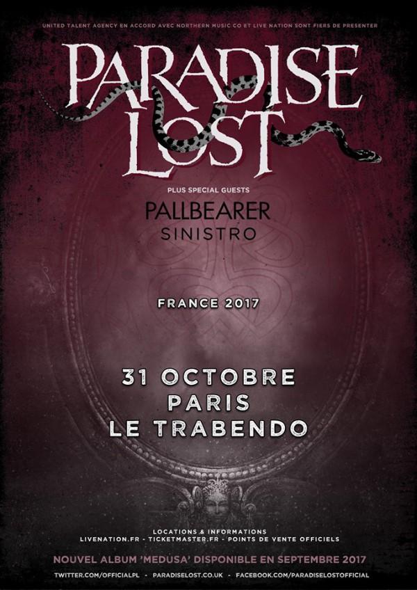 paradise lost, medusa, tournée, 2017, concert, live, sortie, trabendo, anglais