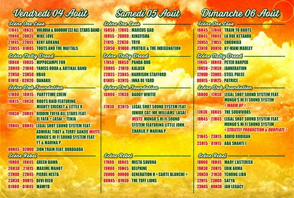 Reggae Sun Ska 2017 Horaires de Passage