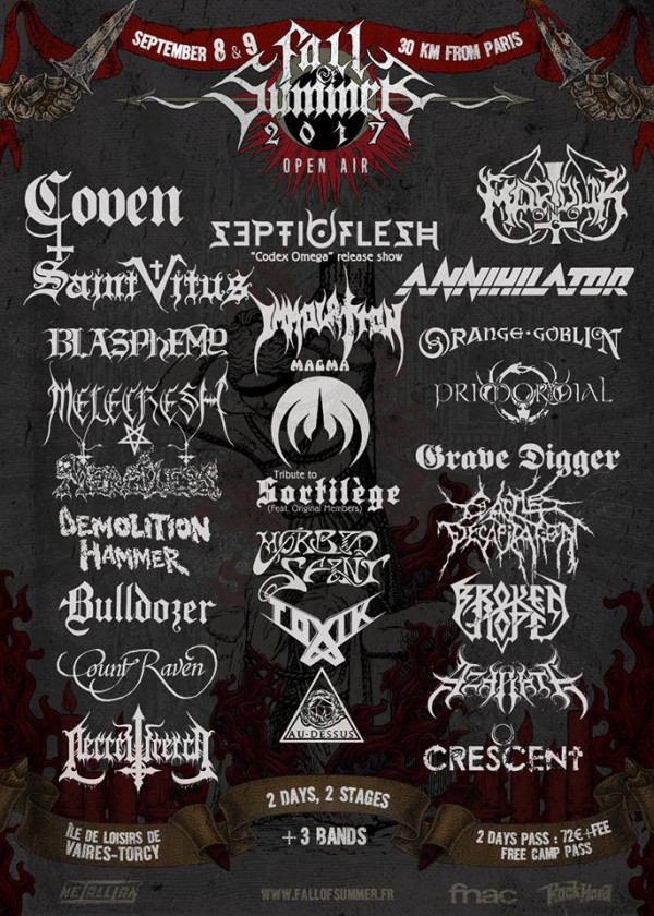 Fall of Summer, Torcy, Metal, fest, Immolation, 2017, line up
