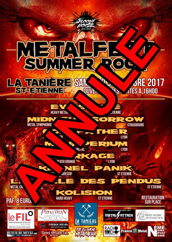Annulation Metalfest Summer Rock 2017
