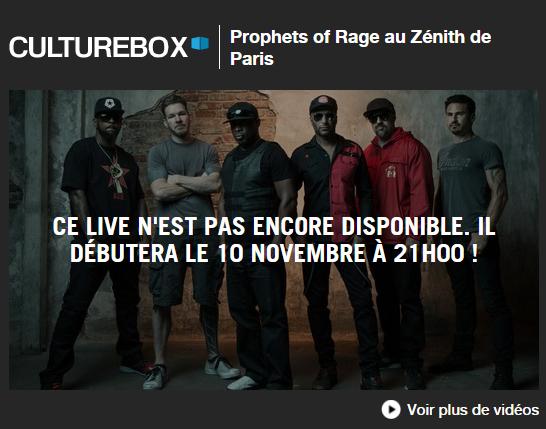 prophets of rage, live, zénith, paris, stream, culture box,