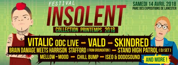 Skindred, Vald, Vitalic ODC Live, fest, lorient, lanester, 2018