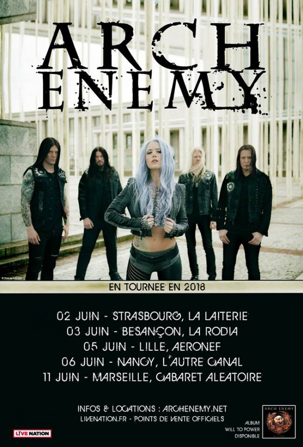 arch enemy, will to power, tour, tournée, concert, france, 2018, live, amott, alissa white-gluz