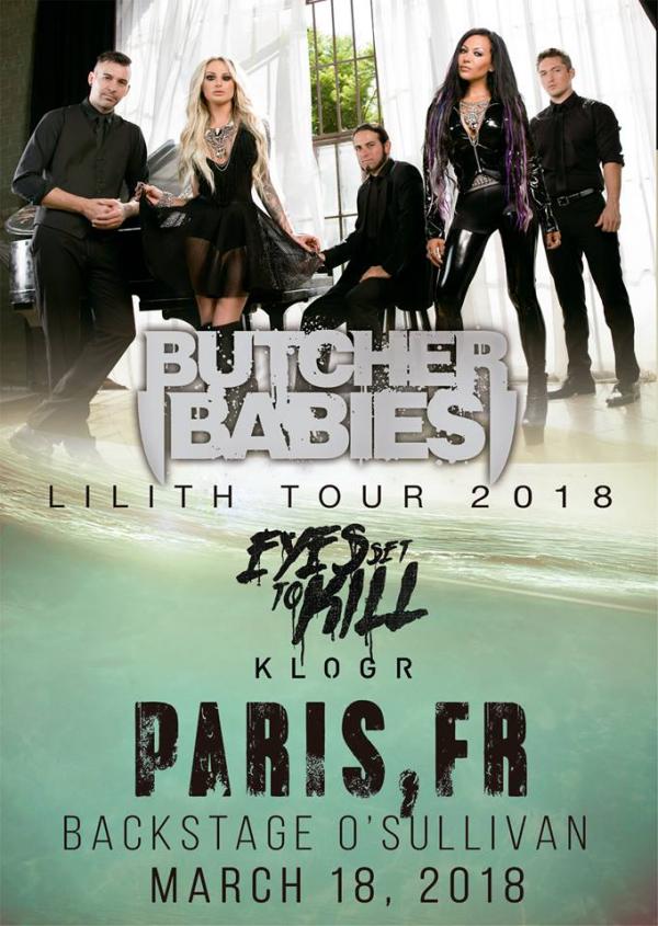 2018, concert, paris, klogr, butcher babies