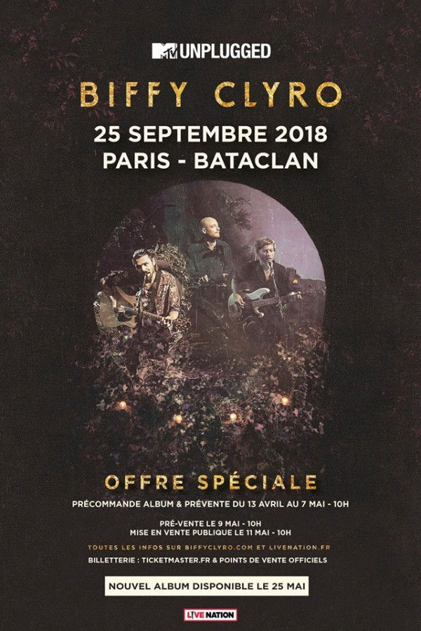 biffy clyro, concert, mtv, unplugged, acoustique, paris, 2018