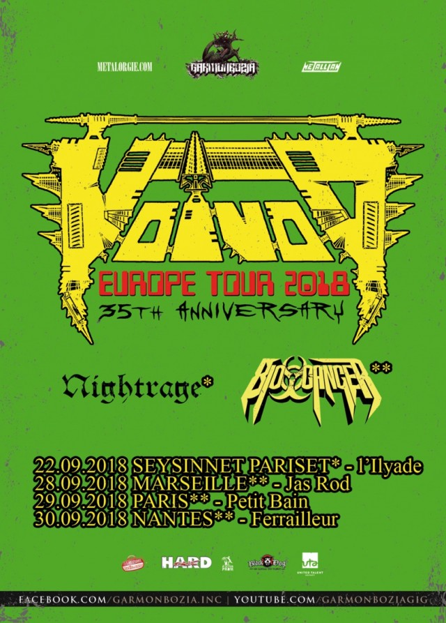 Voivod, Nightrage, Biocancer, tournée, 2018