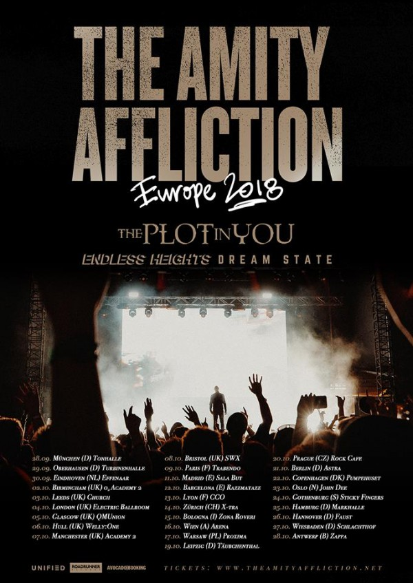 the amity affliction, the plot in you, endless heights, dream state, alternative live, avocado booking, tour, europe, france