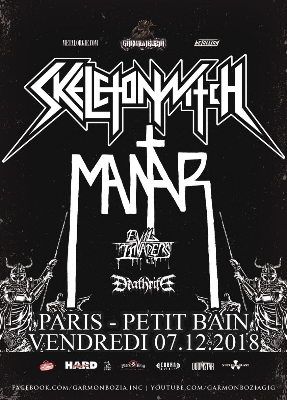Skeletonwitch, tournée, Garmonbozia, Mantar, Evil Invaders, Deathrite