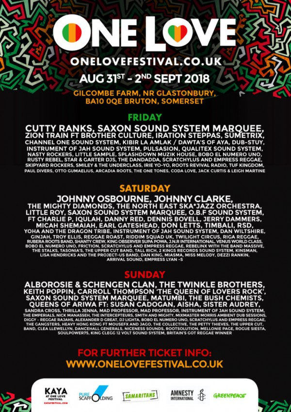 Line up - One Love Festival
