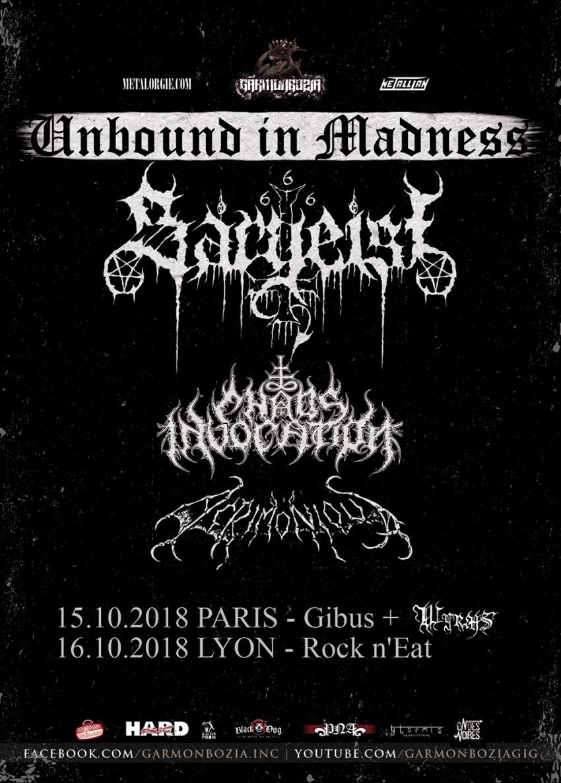 Sargeist, Chaos Invocation, Acrimonious, France, tour, 2018