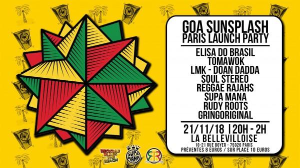goa sunsplash, paris launch party, 21 novembre