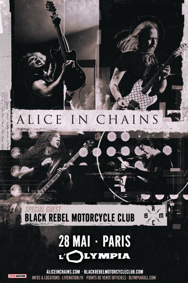 alice in chains, affiche, olympia, black rebel motorcycle club
