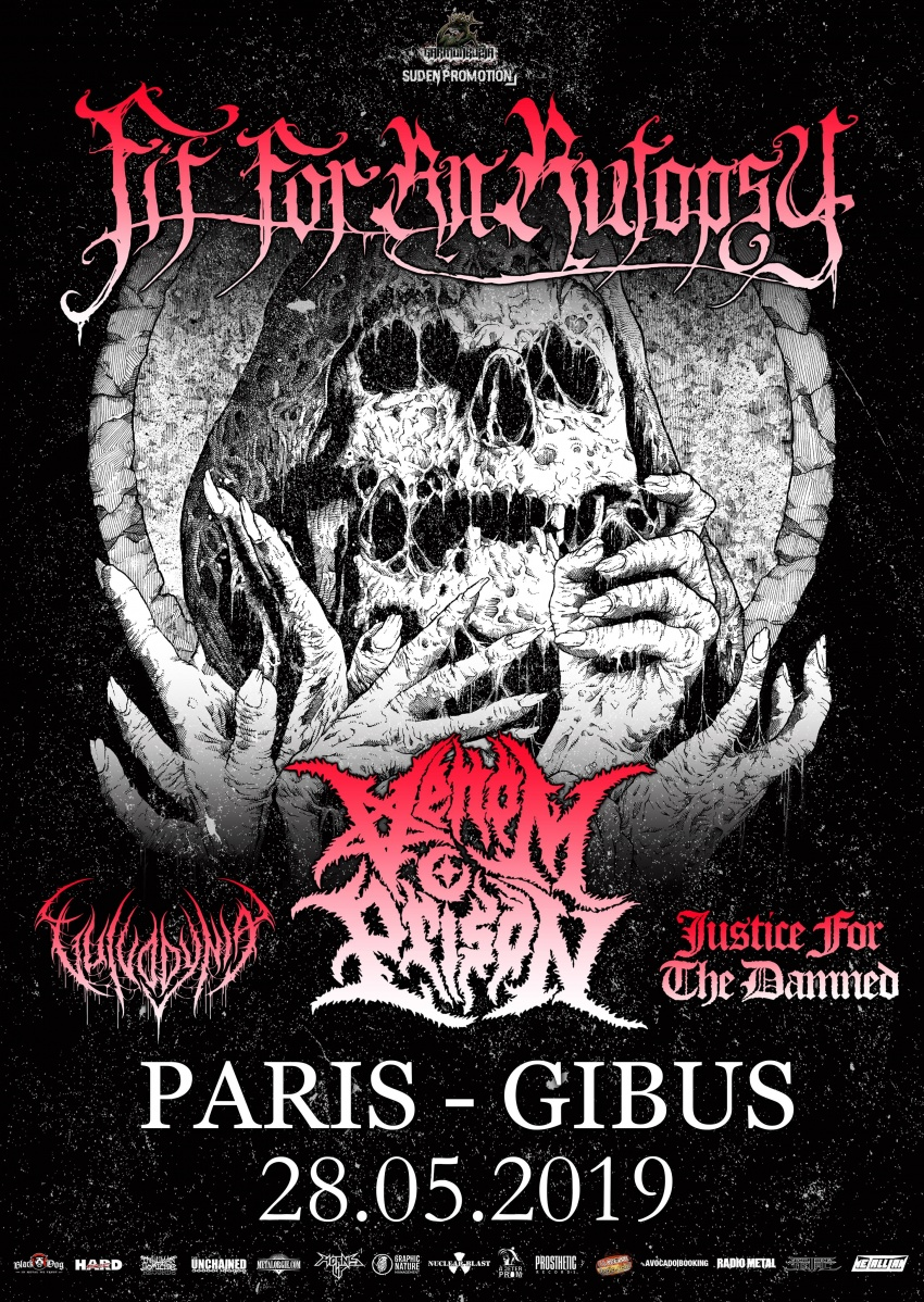 Fit For An Autopsy, Venom Prison, Justice For The Damned, Vulvodynia, Gibus, Paris