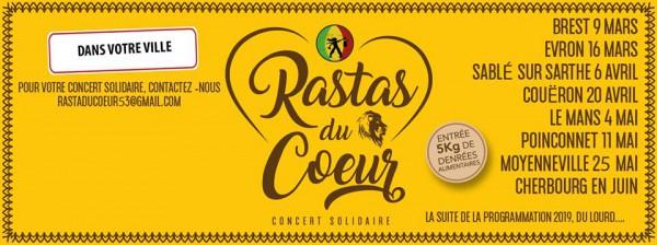 Rastas du Coeur - programme mars - avril - mai - juin des concerts