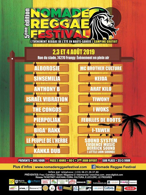 nomade reggae festival, programmation, frangy