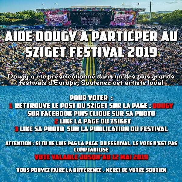 Bannière soutien à Dougy au Sziget Festival