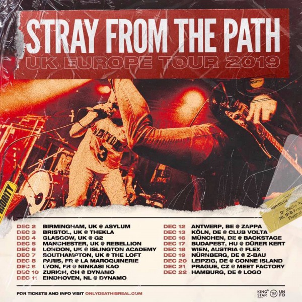 stray from the path, tour, paris, live, lyon, hardcore, long island, 2019