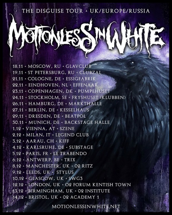 motionless in white, disguise, tour, europe, trabendo, paris, france, veryshow