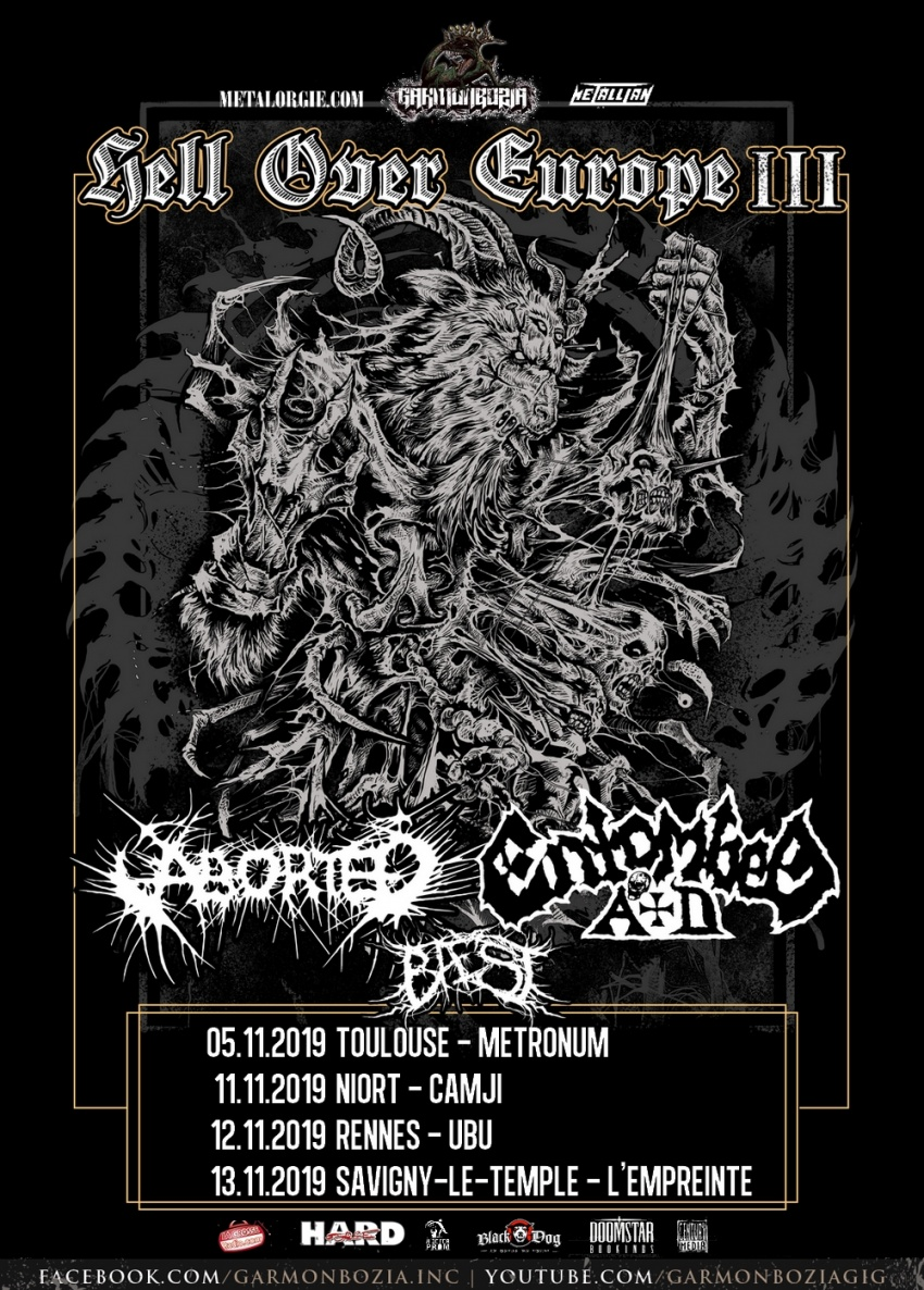 Entombed A.D, Aborted, Baest, Hell Over Europe, 2019, France