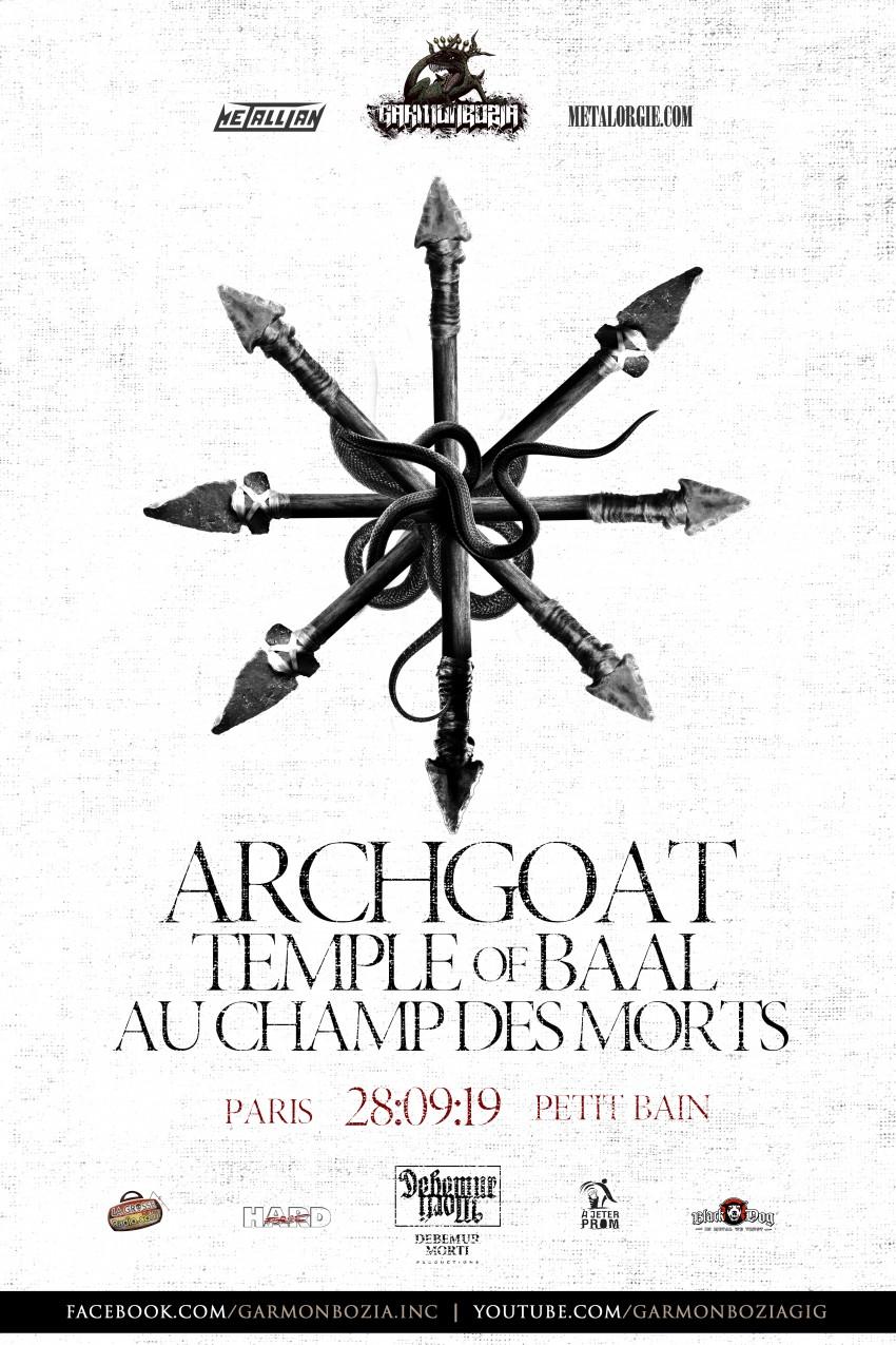 Archgoat, Temple Of Baal, Aux Champs Des Morts, Petit Bain, Paris, 2019