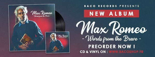 Flyer Précommande Words From The Brave. Max Romeo meets Roots Heritage