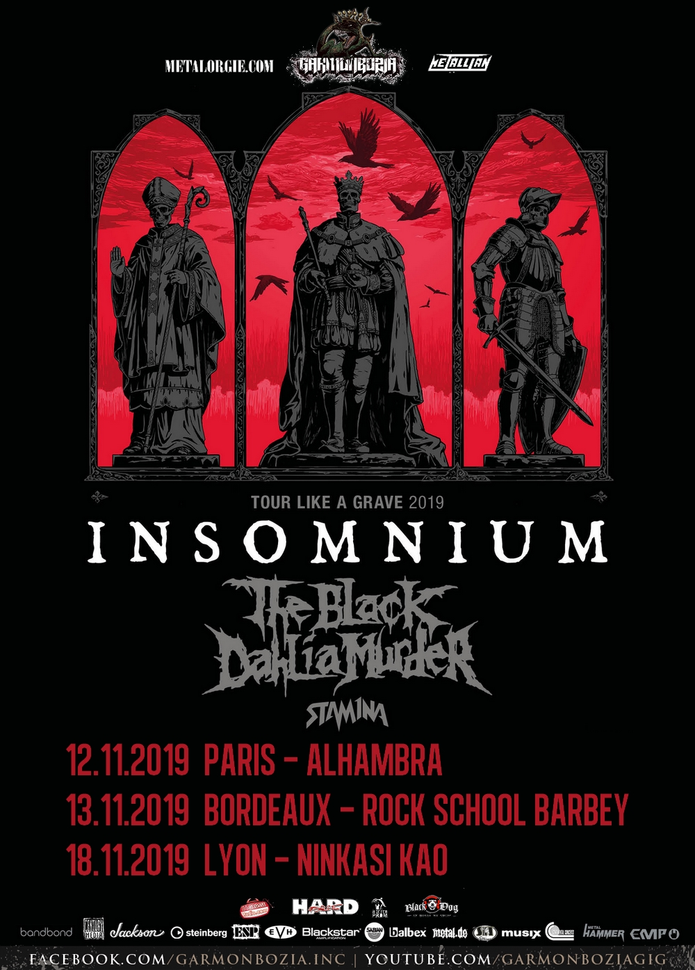 Insomnium, The Black Dahlia Murder, Stam1na, Tour, France, 2019