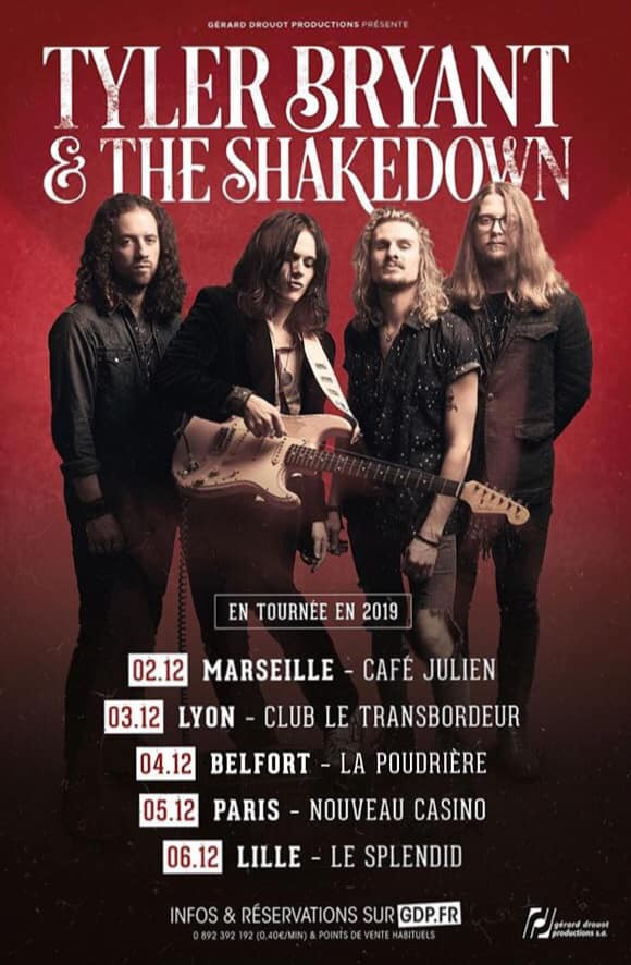 tyler bryant and the shakedown, tournée, france, concerts, rock