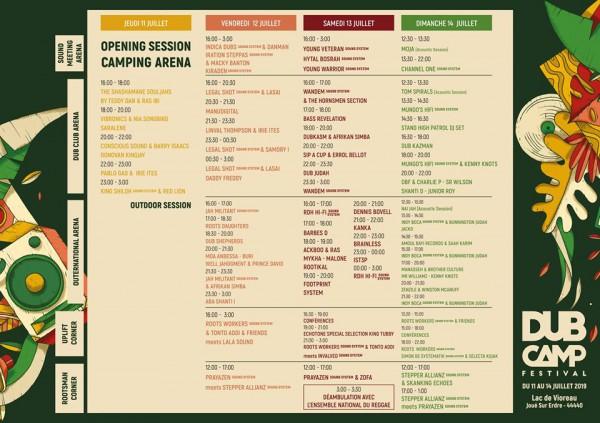 Programme Dub Camp festival 2019