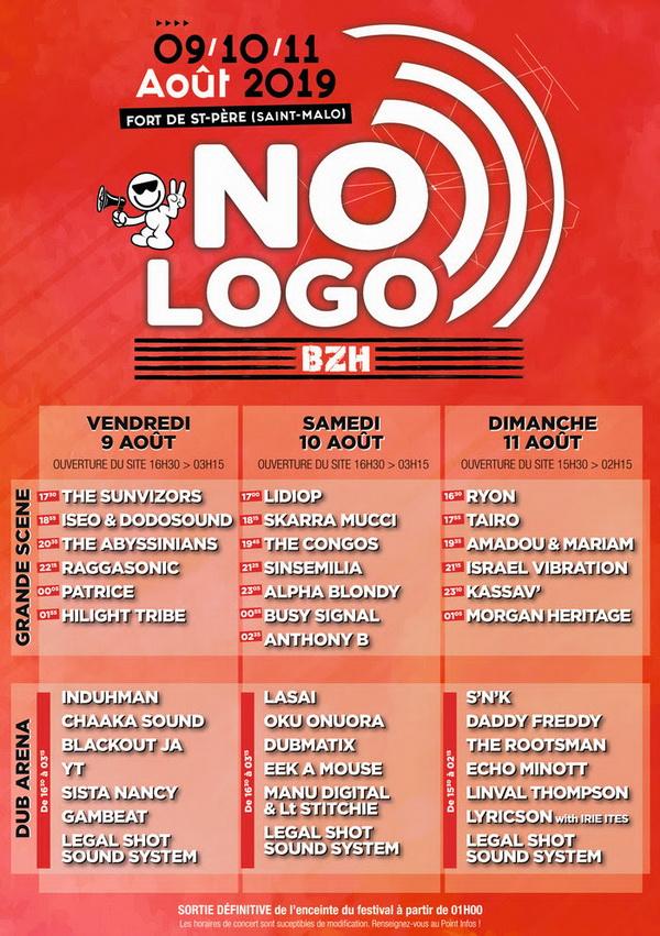 Ordre de passage artistes au No Logo Bzh 2019
