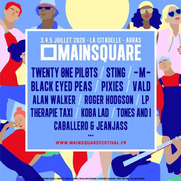 Mainsquare Festival, 2020, festival, rock, Arras, affiche, Sting, Pixies