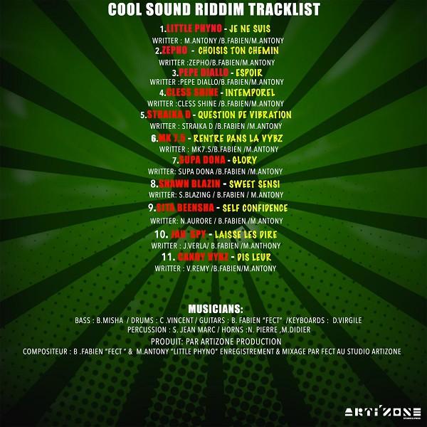 Tracklist Cool Sound Riddim - Artizone Prod