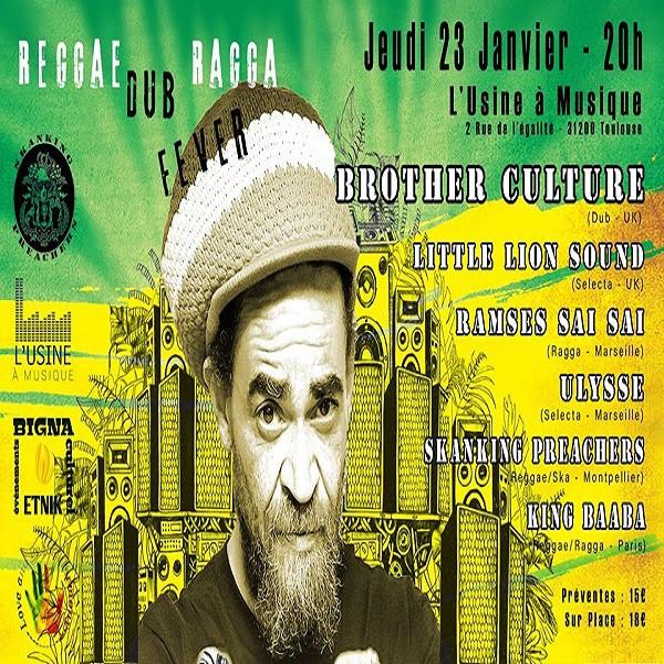 Flyer soirée du 23 janvier. L'Usine à Musique-Toulouse/ Brother Culture & More
