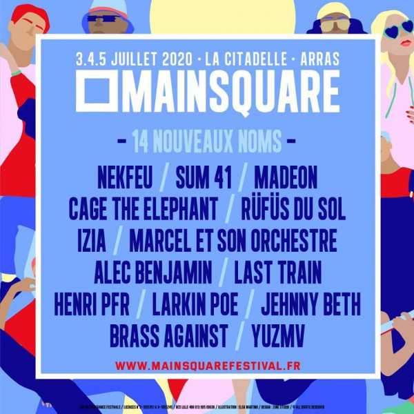 Mainsquare Festival, 2020, festival, rock, Arras, affiche, Sting, Pixies, Sum 41, Izïa, Last Train, Nekfeu