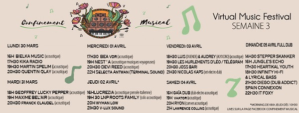 Line up semaine 3 - Confinement Musical
